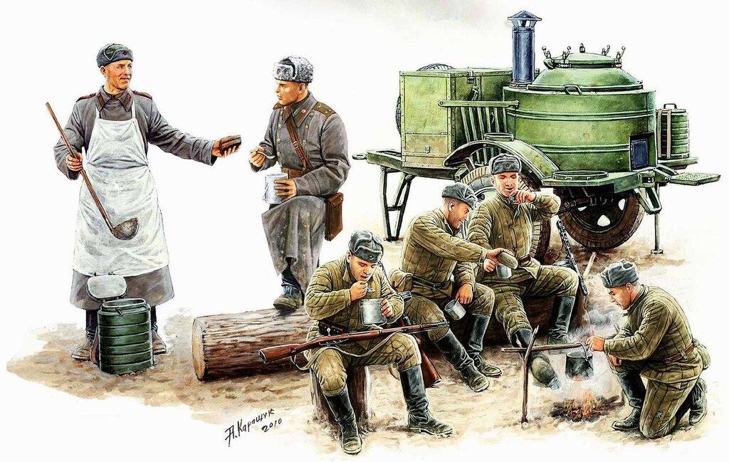 Советские солдаты обедают у полевой кухни (Андрей Каращук)