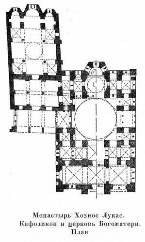 Кафоликон и церковь Богоматери монастыря Хозиос Лукас, план