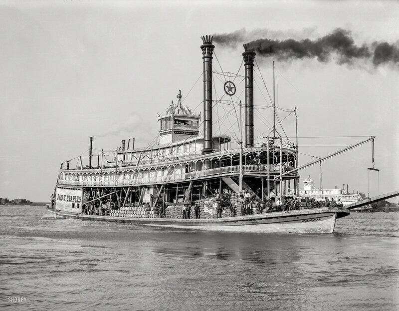 Circa 1910. Packet steamer Jas. T. Staples