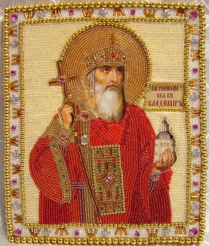 """Икона вышитая бисером """"Князь Владимир"""""""