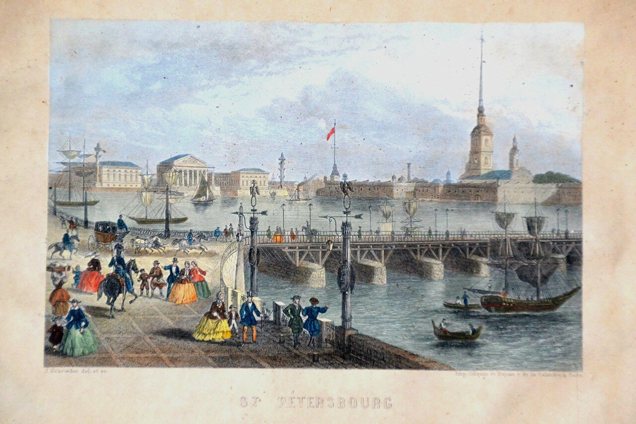 Вид с Невы на Петропавловскую крепость. СПБ. 1859