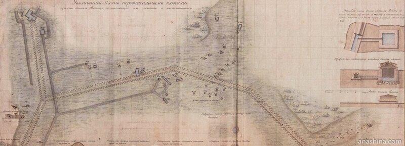 Увеличенный план первоначальных ключей, 1828 год