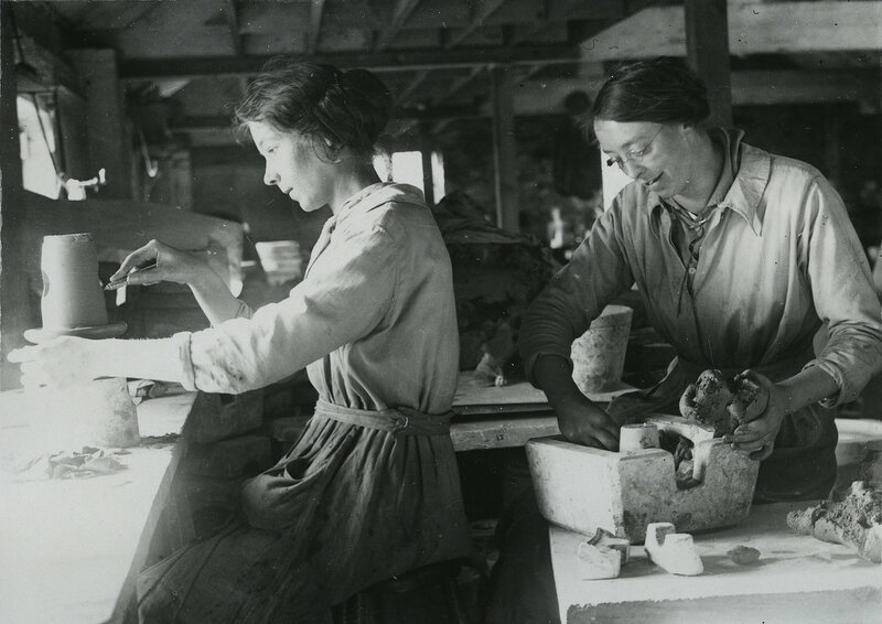 British women moulding and finishing stoneware taps at terra cotta works in Leicestershire