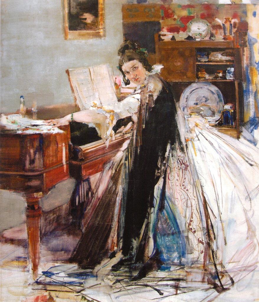 Портрет Н.М.Сапожниковой (у рояля) (1916).jpg