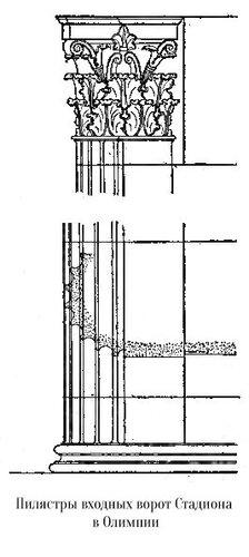 Пилястры входных ворот стадиона в Олимпии, чертеж