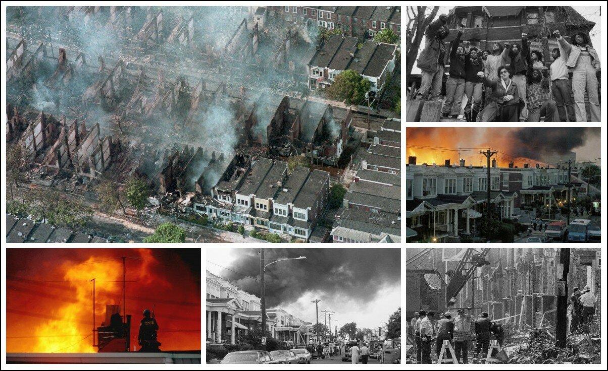 13 мая 1985 г. полиция США сбросила бомбу на жилой квартал американского города