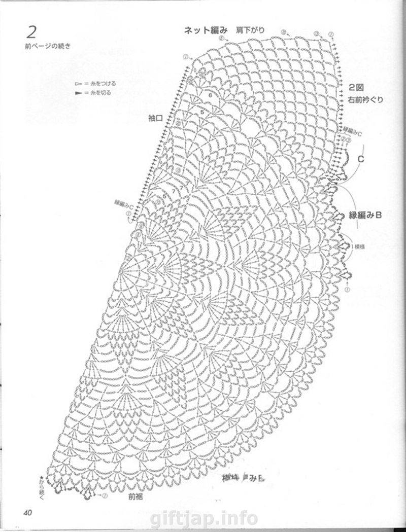 Схема вязания крючком шаль полукруглая