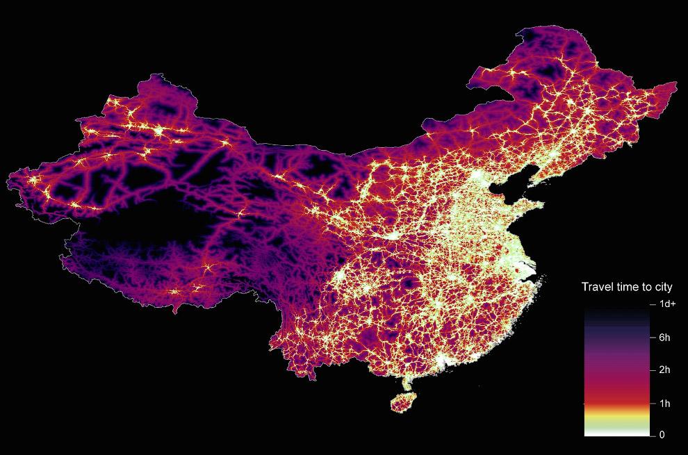 В среднем, более 80% людей на Земле проживают в пределах часа езды до крупного населённого пункта. Н