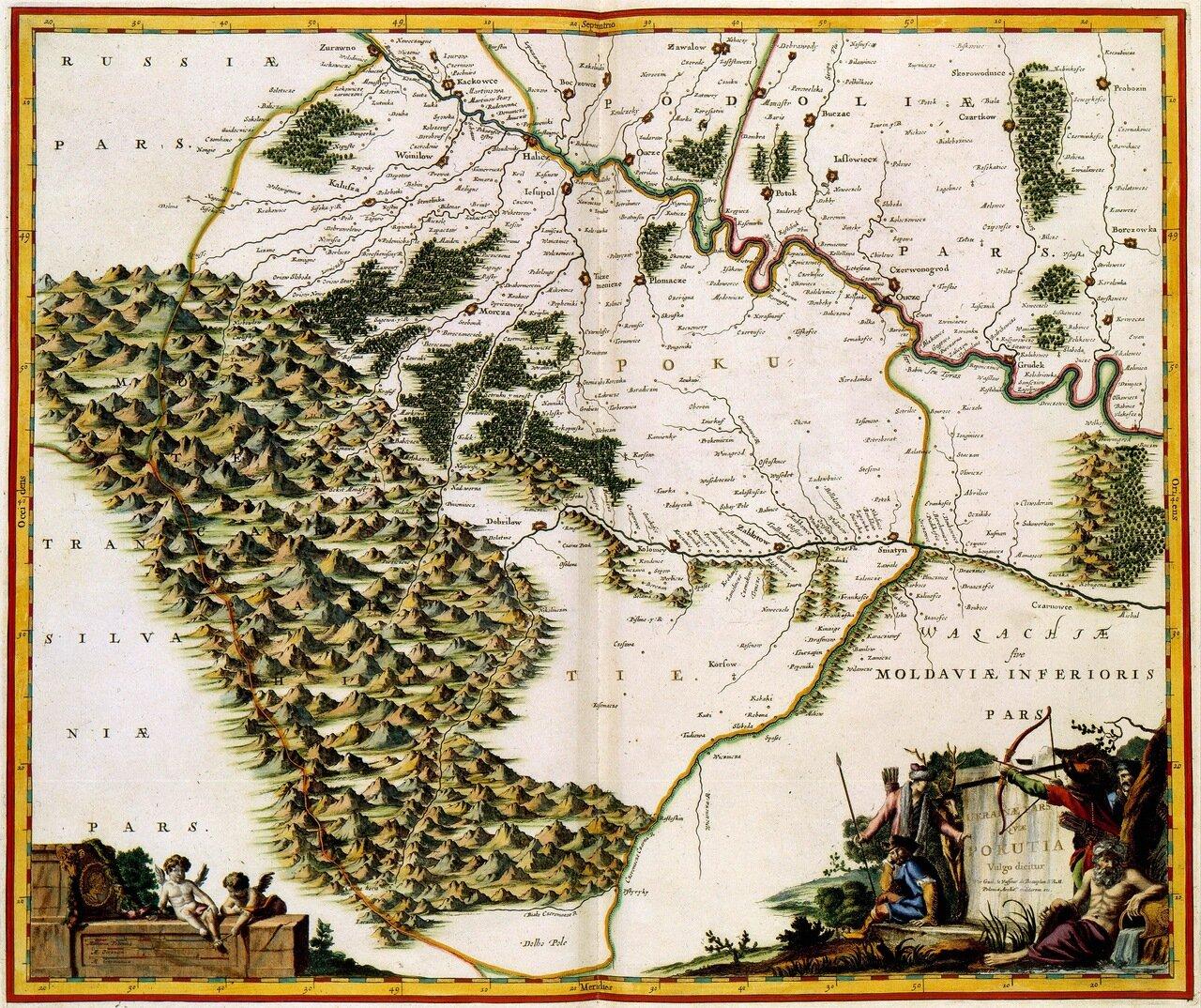 Карта Украины и Валахии