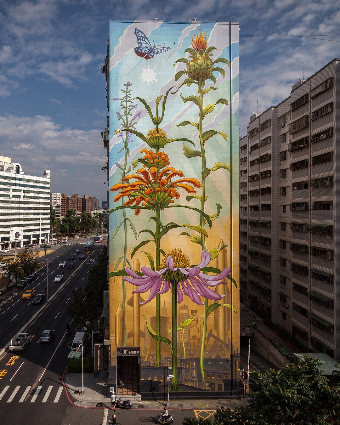 Soaring Murals of Plants on Urban Walls by Mona Caron (9 pics)