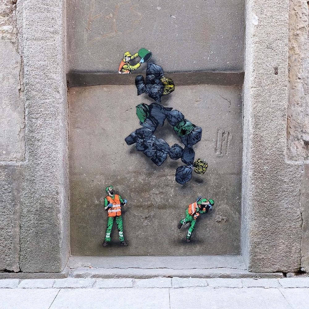 Amusing Street Worker Paintings Around Brussels