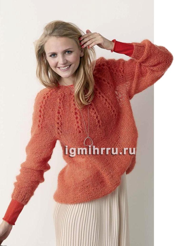 Оранжевый мохеровый пуловер с кокеткой из ажурных прошв. Вязание спицами