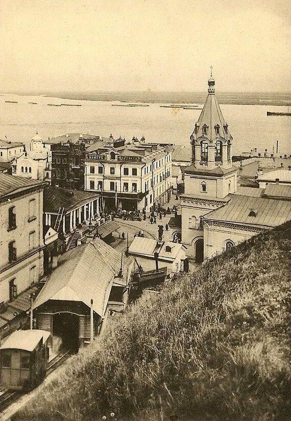 View of the Kremlin elevator and Church of St. John the Baptist, Nizhny Novgorod, c. 1900-10's