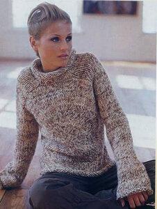 Тёплый водоворот - уютный меланжевый свитер спицами