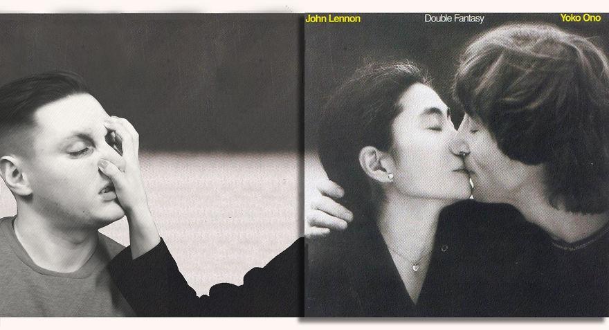 Парень мастерски добавляет себя на обложки культовых альбомов .