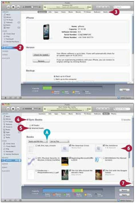Поставьте галочку напротив каждой книги или файла в формате PDF, которые хотите синхронизировать