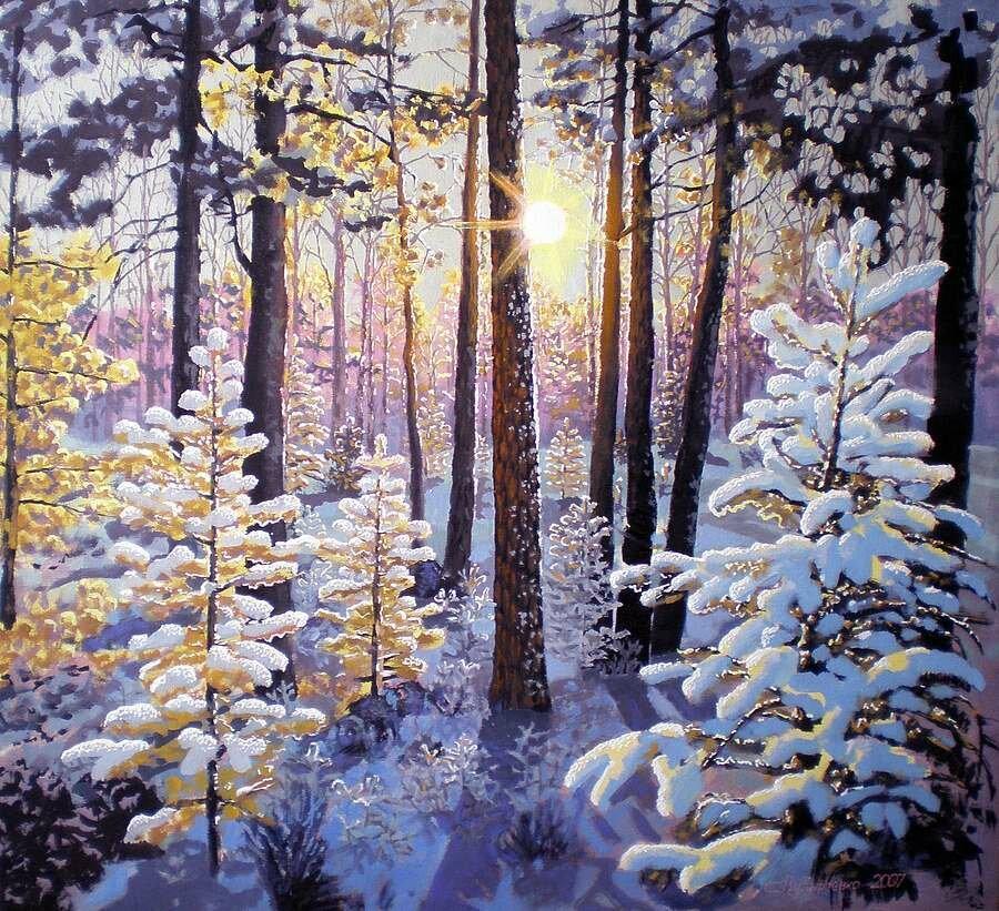 С.Пузыревский. Зимнее утро в лесу