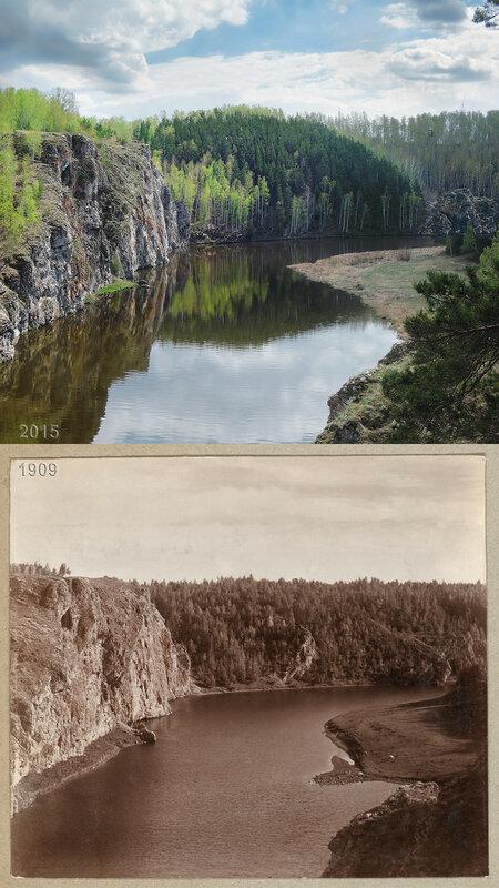 На реке Исеть. Слева - скала Филин.