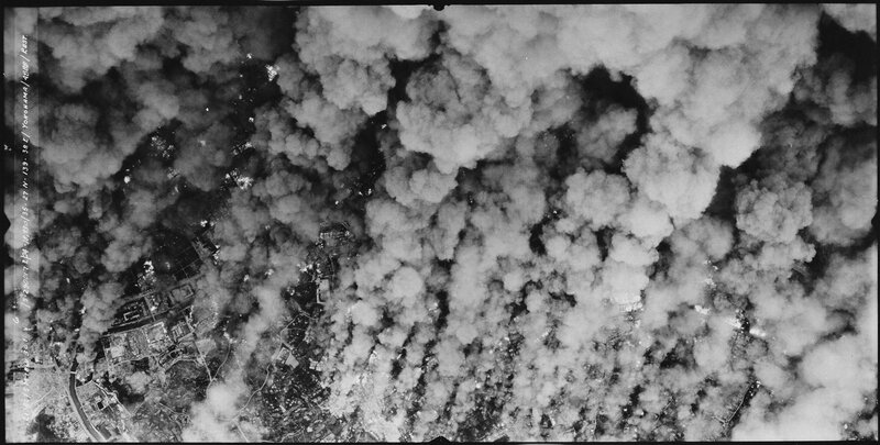 View from a B-29 the firebombing of Yokohama, May 1945. 58% of the city was destroyed.