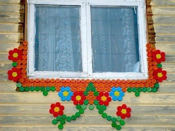 Как украсить дачу из крышек