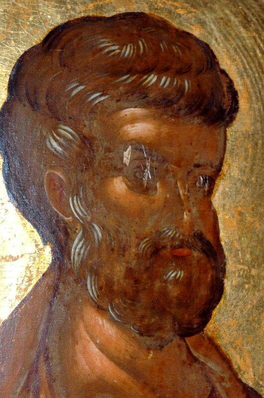 Святой Апостол Пётр. Фрагмент иконы. Византия, 1360-е годы. Монастырь Хиландар на Святой Горе Афон.