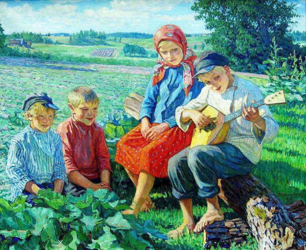 Маленький концерт с балалайкой. 1937 (Дети.Игра на балалайке) Х., м. 110x135.jpg