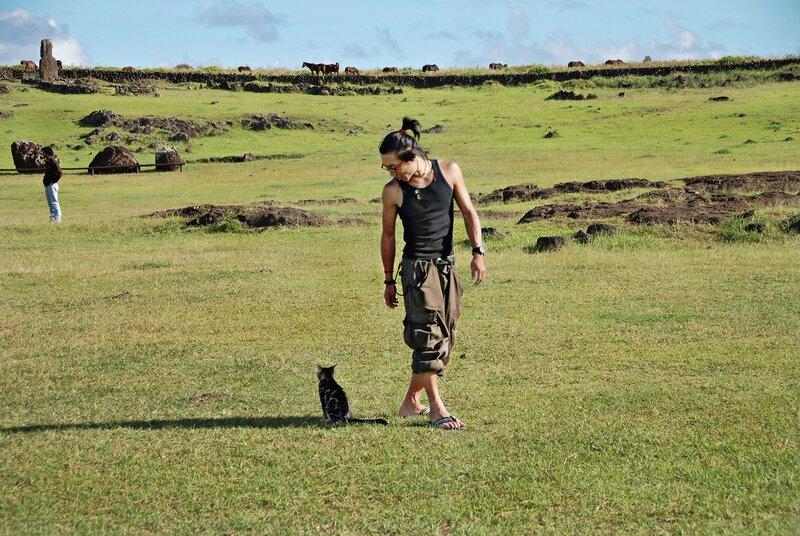 Встреча людей и котов на далёком острове Пасхи