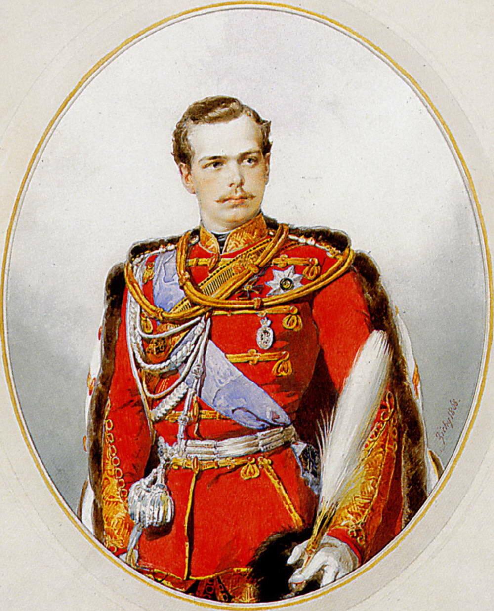 Портрет наследника цесаревича великого князя Александра Александровича, шефа лейб-гвардии Гусарского полка, в мундире полка