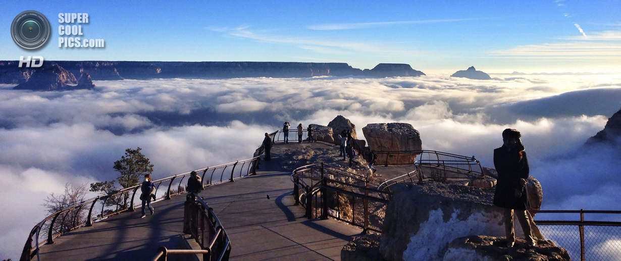 A rare total cloud inversion is pictured at Mather Point on the South Rim of the Grand Canyon National Park in Grand Canyon, Arizona