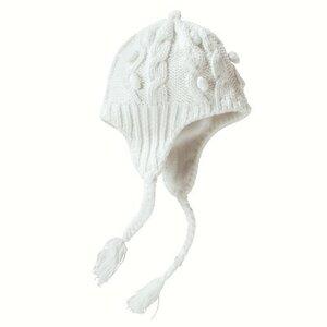 Шапочка-ушанка и жакет с косами