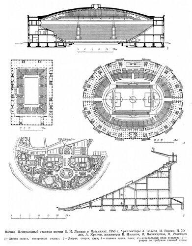 Стадион Лужники (Центральный стадион им В.И. Ленина), чертежи