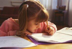 Little Girl Working on Homework