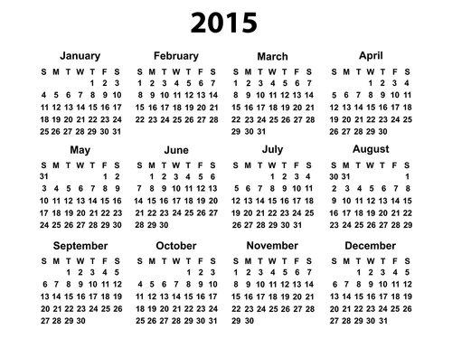 Календарь 2015. Только даты открытка поздравление картинка