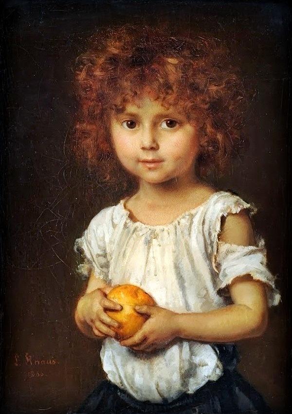 Ludwig Knaus (1829-1910). Kleiner Rotschopf mit Apfelsine