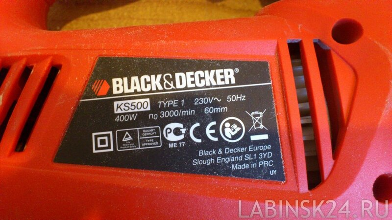 Характеристикии электролобзика Black&Decker KS500