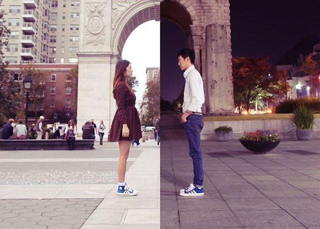 Пара, состоящая в отношениях на расстоянии, создает крутые снимки, где они вместе (14 фото)