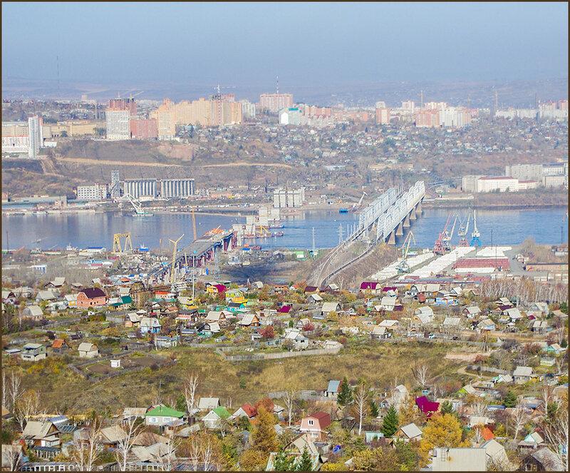 Строительство нового моста через Енисей