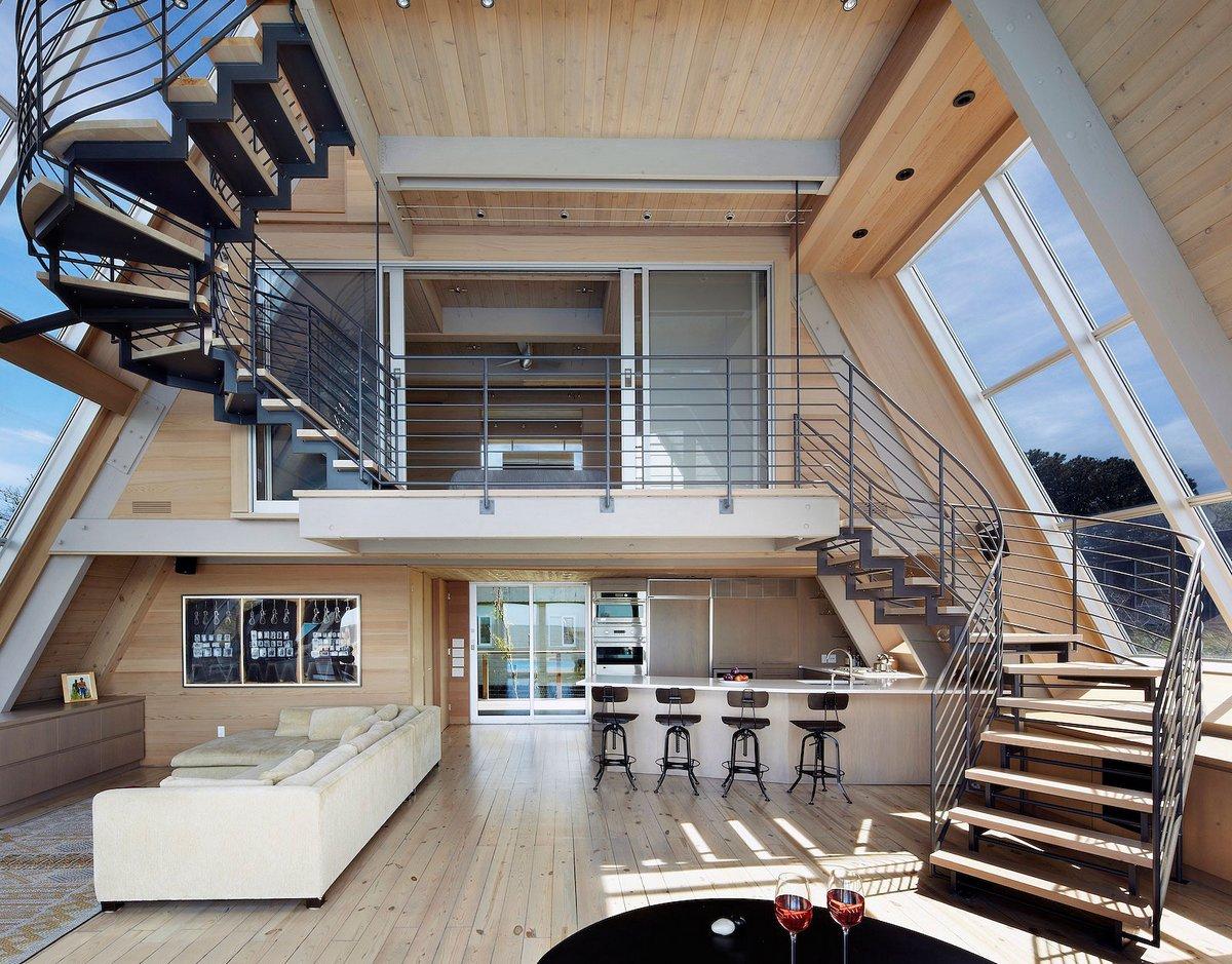 пляжный домик, дом с треугольной крышей фото, Bromley Caldari Architects, дома в штате Нью-Йорк, дом на берегу океана, A-Frame Rethink, Fire Island