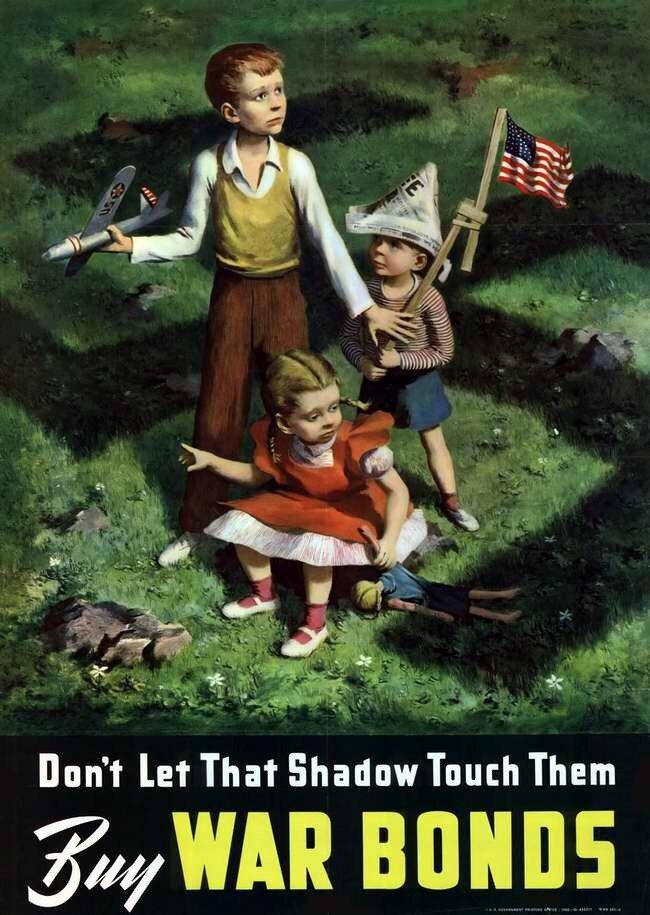 Не допустите того, чтобы тень войны прикоснулась к ним - приобретайте облигации военного займа