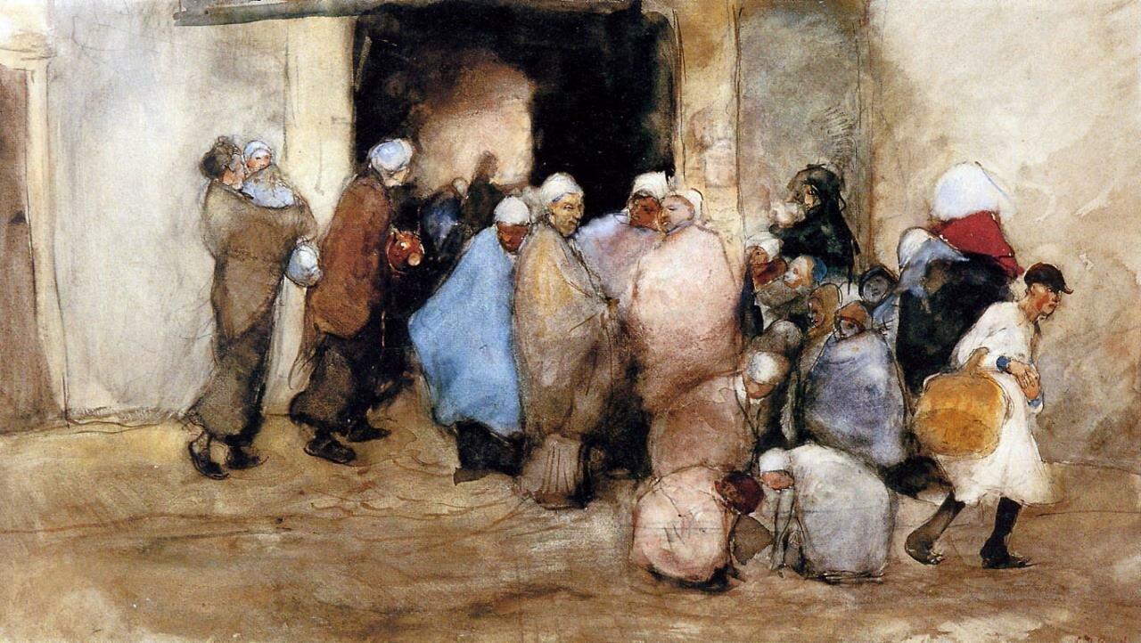 Раздача супа,  1882_Георг Хендрик Брейтнер (1857–1923) акварель, The Stedelijk Museum Amsterdam