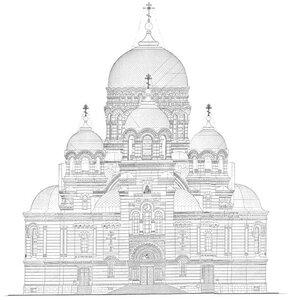 Вознесенский кафедральный собор Новочеркасска, чертеж фасада