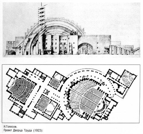 Проект Дворца Труда в Москве Ивана Голосова, чертежи