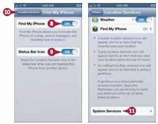 Если вы хотите увидеть значок в строке статуса, показывающий местонахождение вашего iPhone, переведите переключатель «Значок в меню статуса»