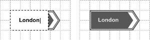 Рис. 5.2. Дважды щелкнув по элементу левой кнопкой мыши, вы можете перейти в режим ввода пояснительного текста. Слева — надпись в процессе редактирования, справа — элемент с готовым текстом