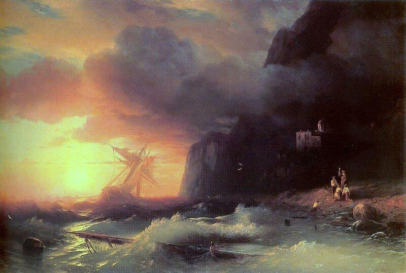 Кораблекрушение у Афонской горы, Айвазовский Иван Константинович, картины