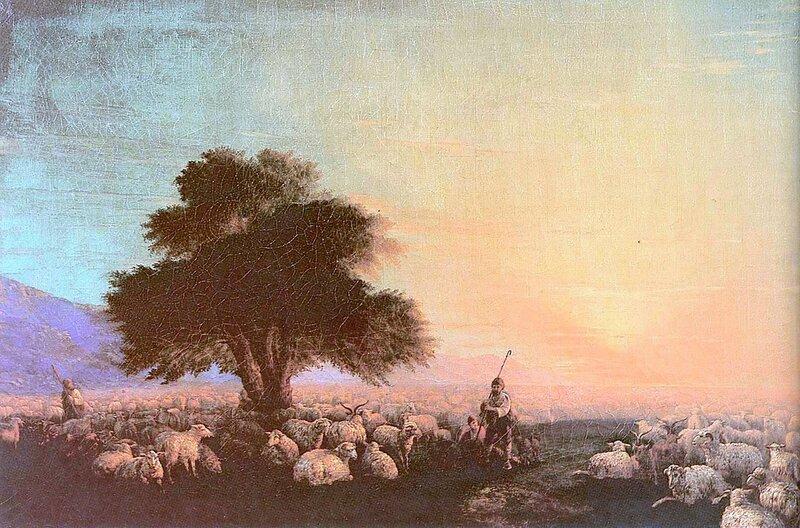 Отара с пастухами. Закат, Айвазовский Иван Константинович, картины