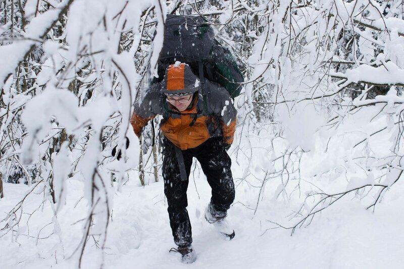 пеший поход с рюкзаком зимой у Вырицы, Сусанино, Семрино