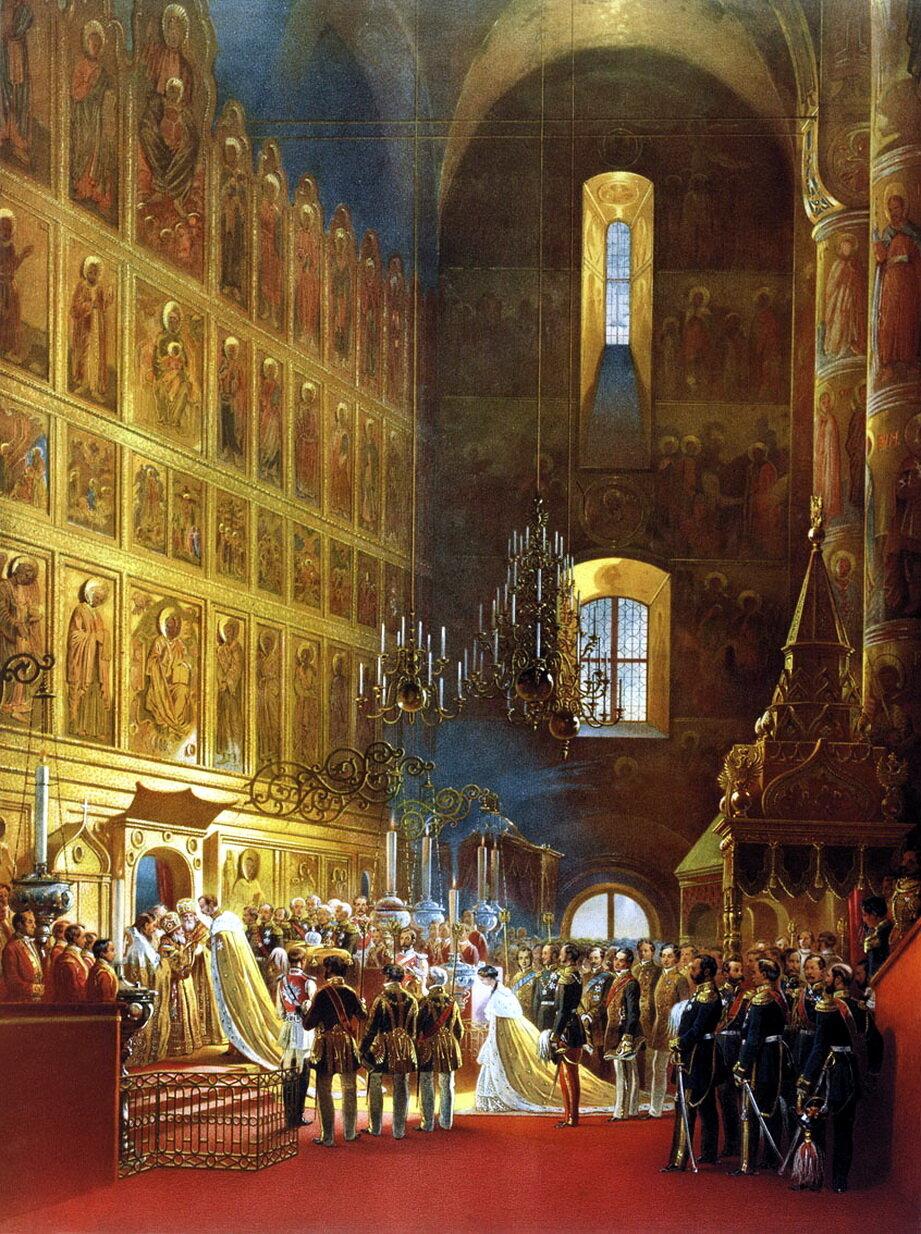 Василий Федорович Тимм (1820–1895). Миропомазание государя императора Александра II во время его коронования в Успенском соборе