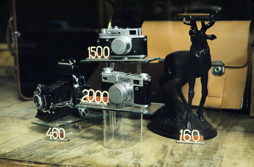 Russia, display of cameras for sale at store in Moscow