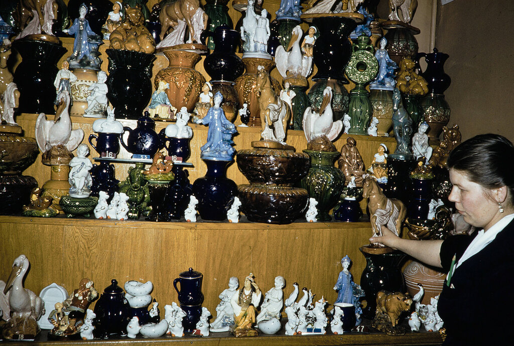 Russia, porcelain goods for sale at store in Moscow